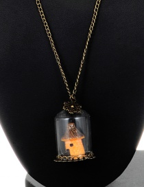 Fashion Yellow House Pendant Decorated Long Necklace