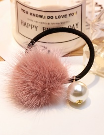 Fashion Pink Pearl&fuzzy Ball Decorated Hair Band