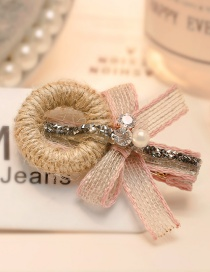 Fashion Pink Bowknot&pearl Decorated Hairpin