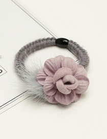 Fashion Light Purple Flower&fuzzy Ball Decorated Hair Band