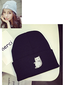 Lovely Black Embroidered Panda Decorated Simple Cap