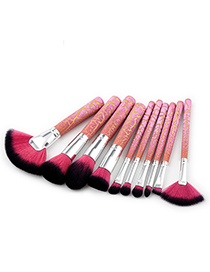 Trendy Black+pink Sector Shape Decorated Makeup Brush(10pcs)