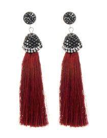 Fashion Clarer Red Long Tassel Decorated Pure Color Earrings