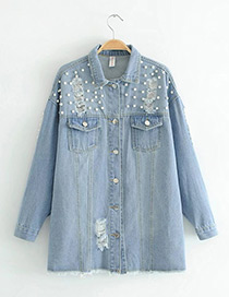 Fashion Blue Pearl Decorated Coat