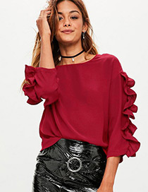 Fashion Claret Red Pure Color Decorated Shirt