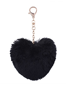 Fashion Black Fuzzy Ball Decorated Heart Shape Key Chain