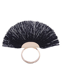 Fashion Black Tassel Decorated Sector Shape Ring