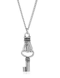 Fashion Silver Color Key Pendant Decorated Pure Color Necklace