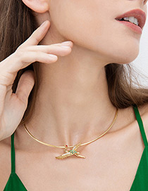 Fashion Gold Color Red-crowned Crane Decorated Necklace