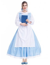 Fashion White+light Blue Pure Color Decorated Cosplay Costume (2 Pcs Headdress + Skirt)