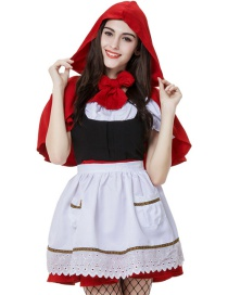 Fashion Red Pure Color Decorated Cosplay Costume(with Dress , apron , shawl)