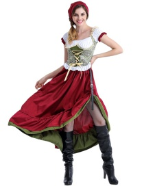 Fashion Red Pure Color Decorated Cosplay Costume(with scarf and dress)