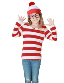 Fashion Red+white Stripe Pattern Decorated Baby Cosplay Costume(with Glasses,shirt,cap)