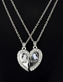 Fashion Silver Color Heart Shape Decorated Necklace (2 Pcs )
