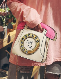 Trendy Beige Telephone Shape Design Shoulder Bag
