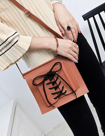Fashion Brown Bandage Design Pure Color Mobile Phone Bag