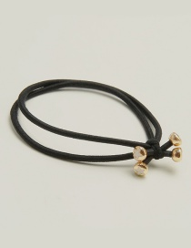 Elegant Black Beads Decorated Double Layer Hair Band