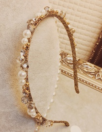 Fashion Gold Color Pearls&diamond Decorated Hair Hoop
