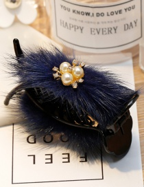 Fashion Navy Fuzzy Ball Decorated Hair Clip