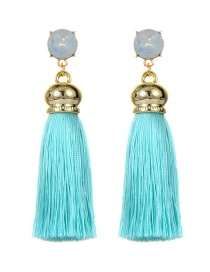Fashion Blue Long Tassel Decorated Simple Earrings