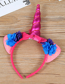 Trendy Plum Red Unicorn Shape Decorated Hair Hoop