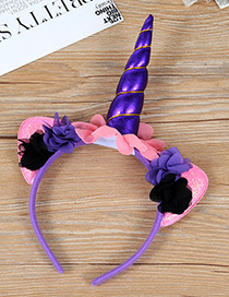 Trendy Purple Unicorn Shape Decorated Hair Hoop