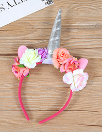 Trendy Silver Color Unicorn&flower Decorated Hair Hoop