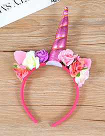 Trendy Pink Unicorn&flower Decorated Hair Hoop