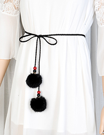 Fashion Black Fuzzy Balls Decorated Pure Color Waist Belt