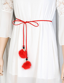 Fashion Red Fuzzy Balls Decorated Pure Color Waist Belt