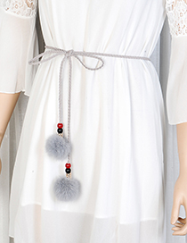Fashion Gray Fuzzy Balls Decorated Pure Color Waist Belt