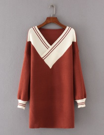 Fashion Red V Neckline Decorated Long Sleeve Sweater