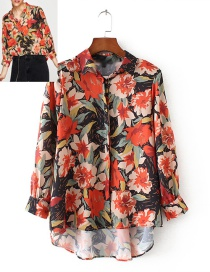 Fashion Multi-color Flower Pattern Decorated Long Sleeve Shirt
