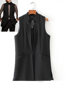 Fashion Black Pure Color Decorated Long Vest
