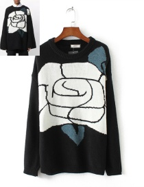 Fashion Black Flower Pattern Decorated Long Sleeve Sweater