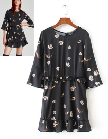 Fashion Black Birds Pattern Decorated Simple Dress