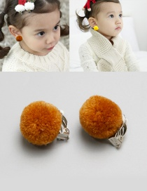 Fashion Brown Fuzzy Balls Decorated Children Earrings