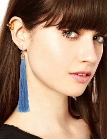 Fashion Blue Long Tassel Decorated Pure Color Earrings