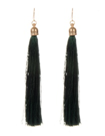 Fashion Green Long Tassel Decorated Pure Color Earrings