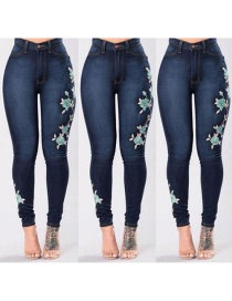 Fashion Dark Blue Embroidery Flower Design Simple Pants