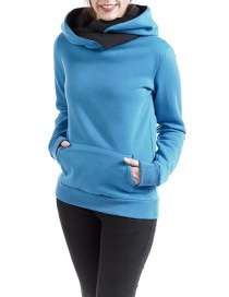 Fashion Blue Pure Color Decorated Thicken Hoodie