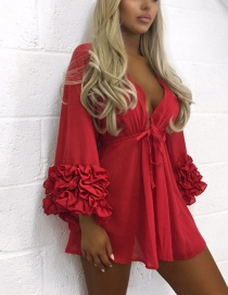 Fashion Red Pure Color Decorated V Neckline Smock(only Smock)