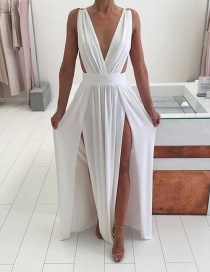 Fashion White V Neckline Design Pure Color Long Dress