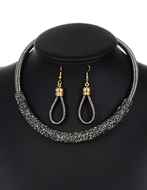 Trendy Gun Black Circular Ring Decorated Pure Color Jewelry Sets