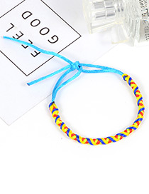 Trendy Blue Color Matching Decorated Hand-woven Bracelet