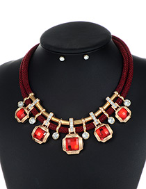 Trendy Red Square Shape Decorated Double Layer Jewelry Sets