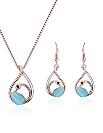 Fashion Blue Swan Shape Decorated Simple Jewelry Sets