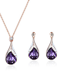 Fashion Purple Water Drop Shape Design Jewelry Sets
