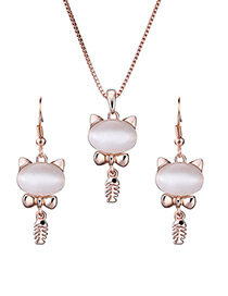 Fashion Gold Color Cat&fish Bones Pendant Decorated Jewelry Sets