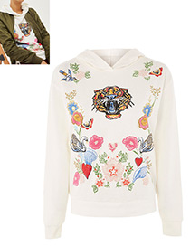 Fashion White Flower Pattern Decorated Long Sleeves Hoodie